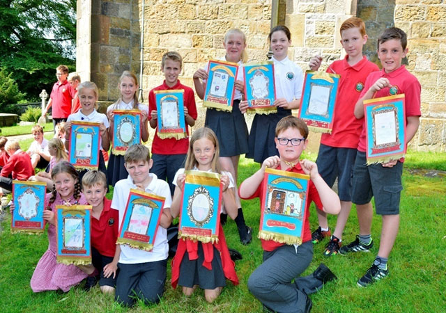 Mini banners drawn by Chatburn school children